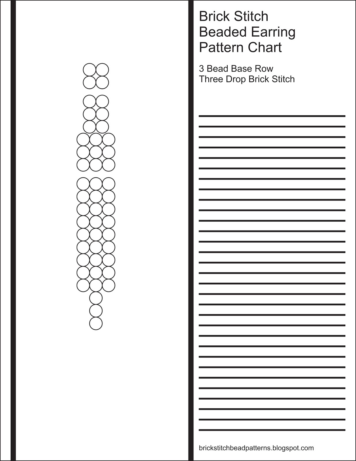 Brick Stitch Bead Patterns Journal: 3 Bead Base Row 3 Drop Blank - Free Printable Beading Patterns