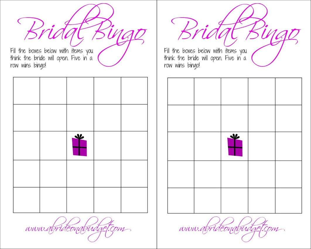 Bridal Bingo (And A Free Printable) | A Bride On A Budget - Free Printable Bridal Bingo Sheets