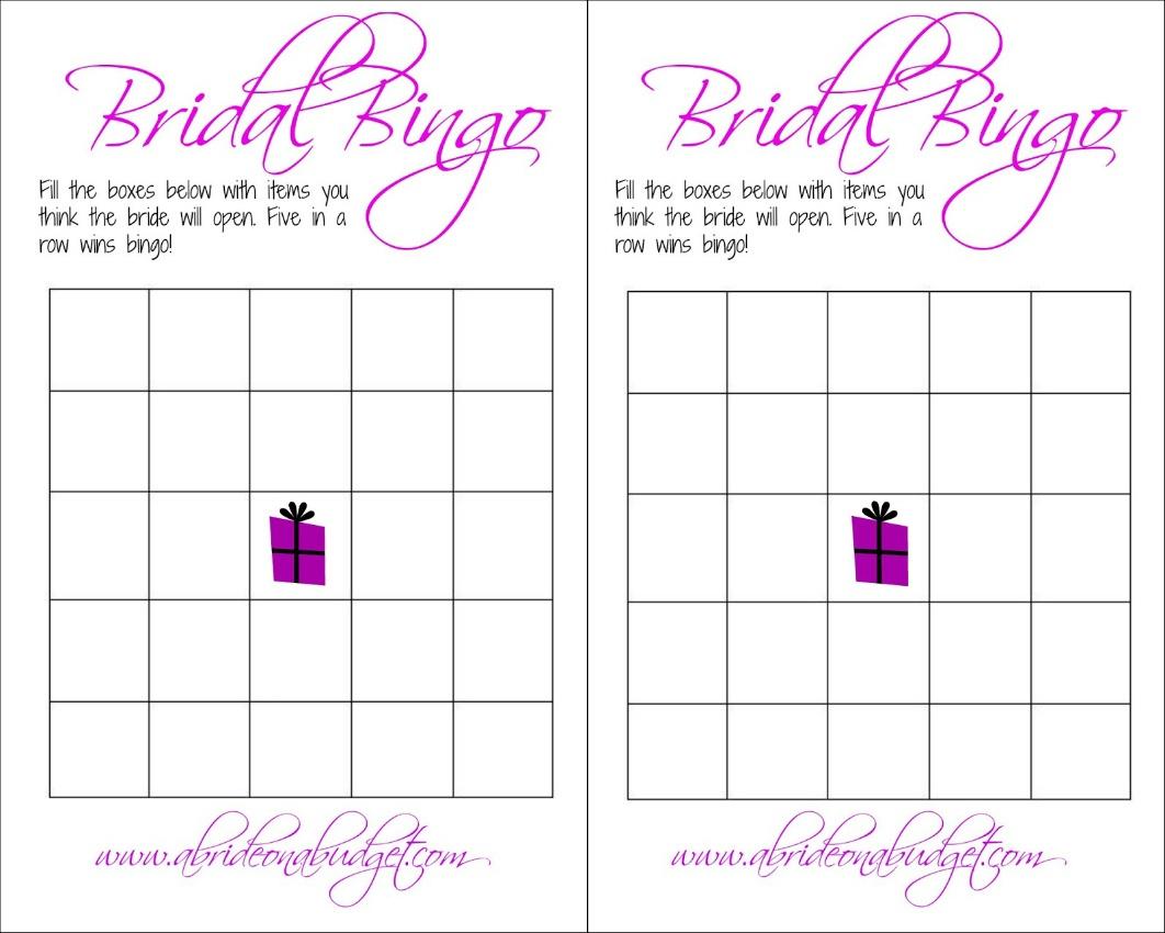 Bridal Bingo (And A Free Printable) | A Bride On A Budget - Free Printable Bridal Shower Blank Bingo Games
