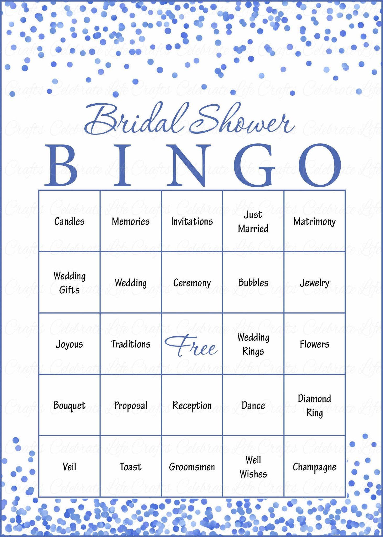 Bridal Bingo Cards - Printable Download - Prefilled - Bridal Shower - Free Printable Bridal Bingo Sheets