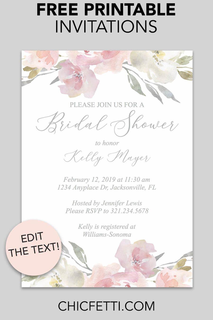 Bridal Shower Printable Invitation (Blush Floral   Invitations - Invitations Bridal Shower Free Printable