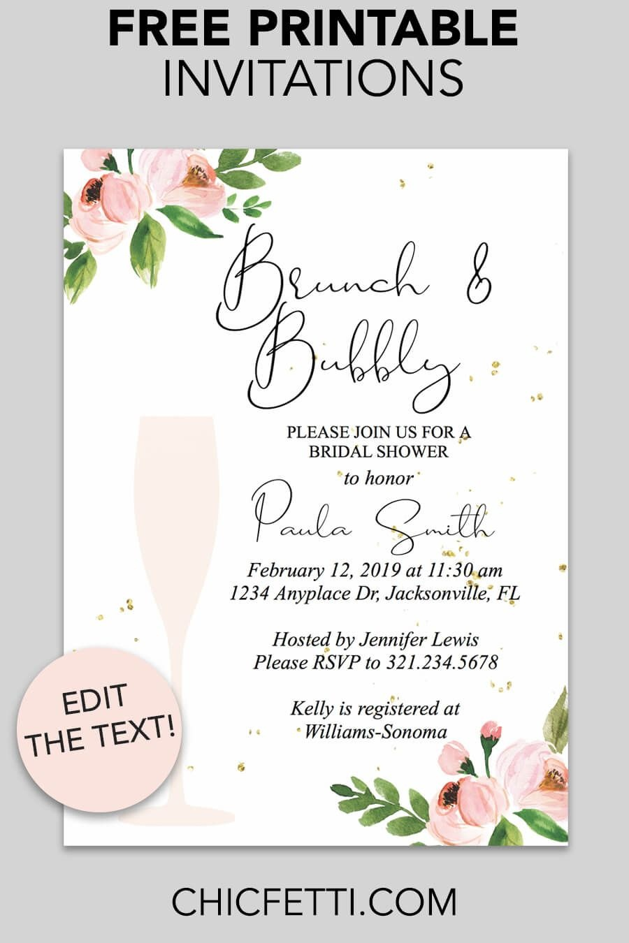 Bridal Shower Printable Invitation (Floral Bubbly   Invitations - Invitations Bridal Shower Free Printable