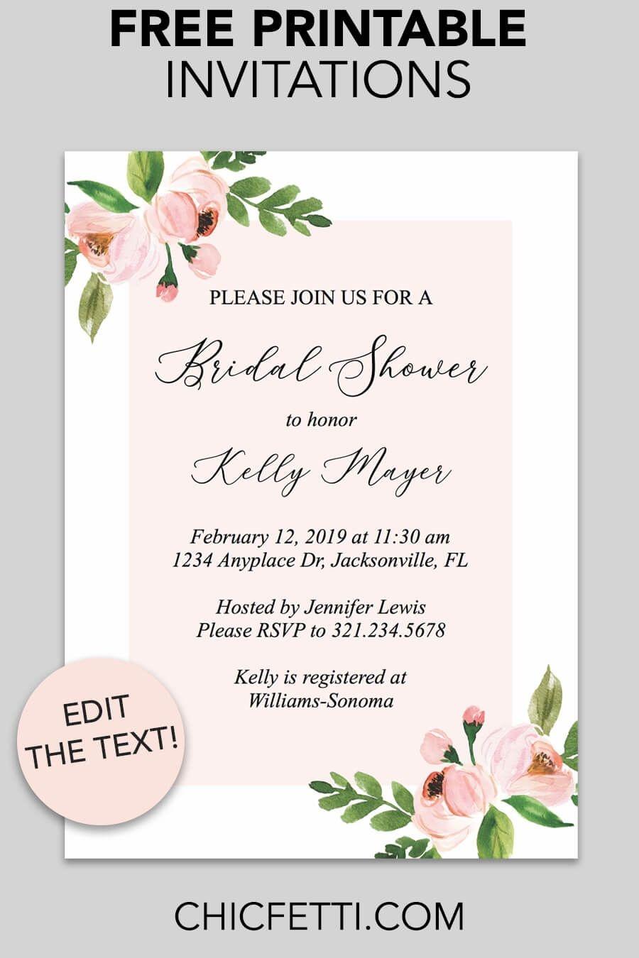 Bridal Shower Printable Invitation (Light Pink Floral   Free - Invitations Bridal Shower Free Printable