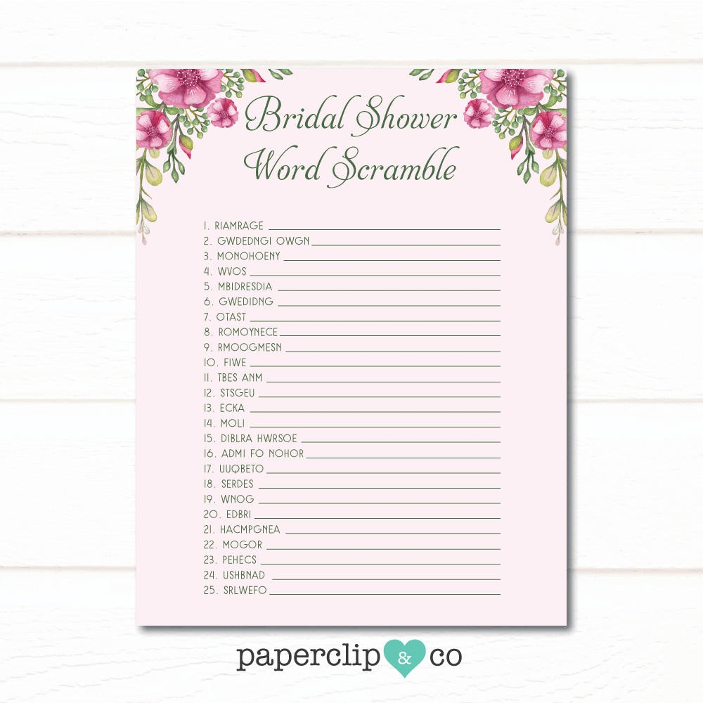 Bridal Shower Word Scramble Game Wedding Shower Games | Etsy - Free Printable Bridal Shower Games Word Scramble