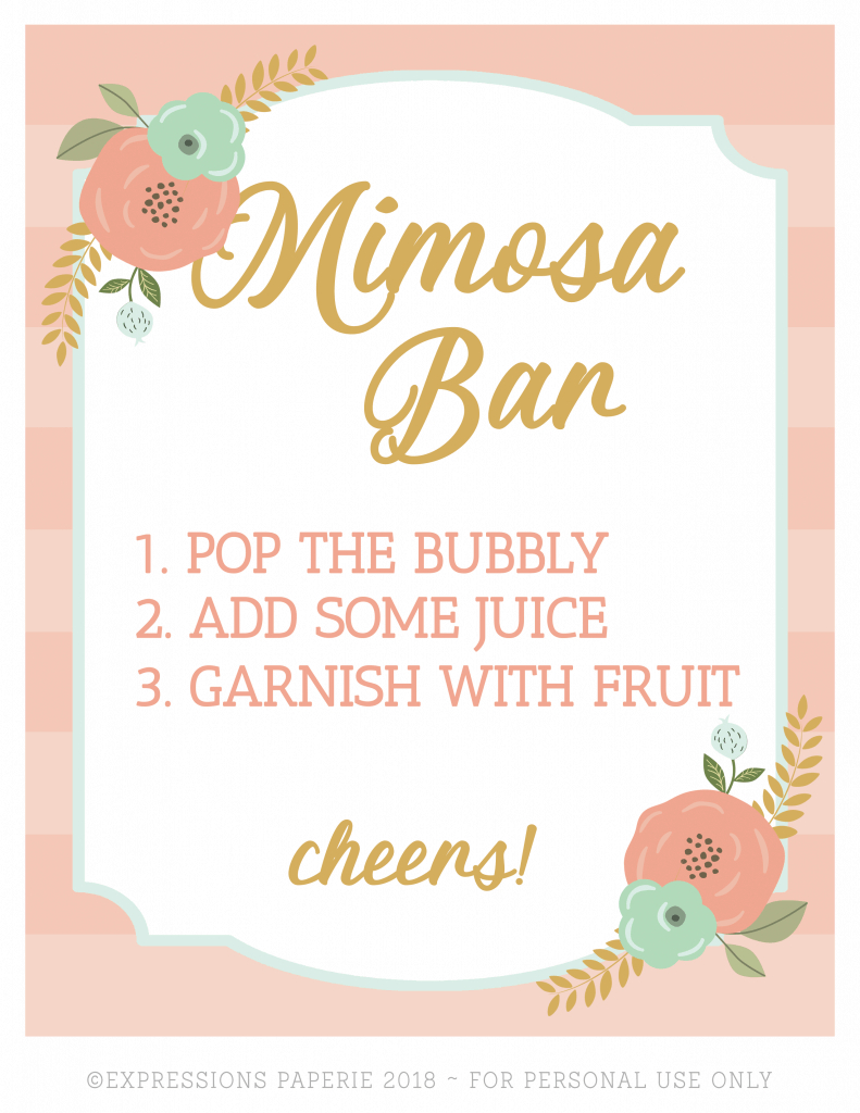 Brunch And Mimosas Party Ideas - Strawberry Blondie Kitchen - Free Mimosa Bar Printable