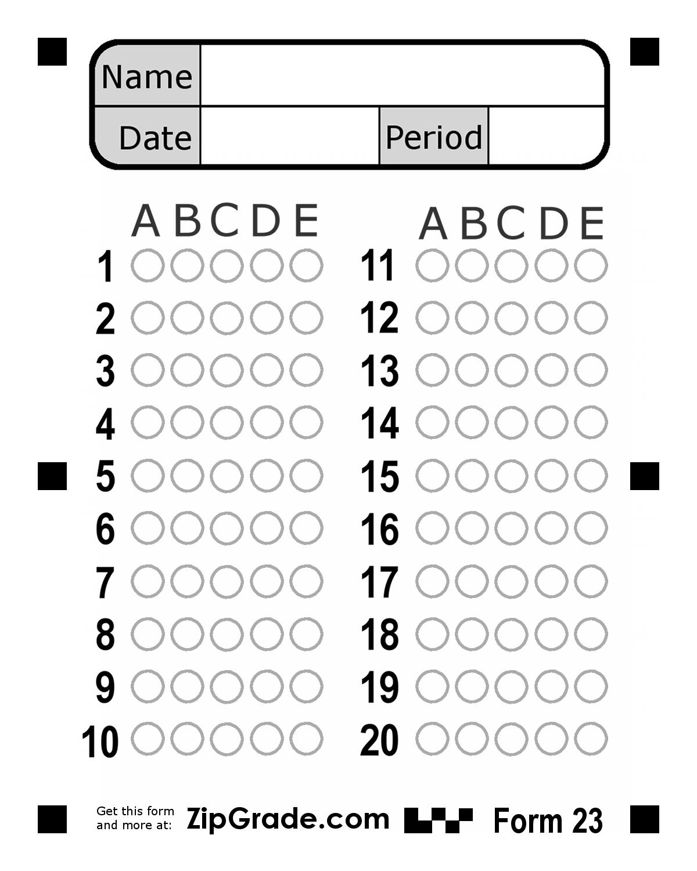 Bubble Answer Sheet 1-50 | 100 Question Bubble Answer Sheet - Free Printable Bubble Answer Sheets