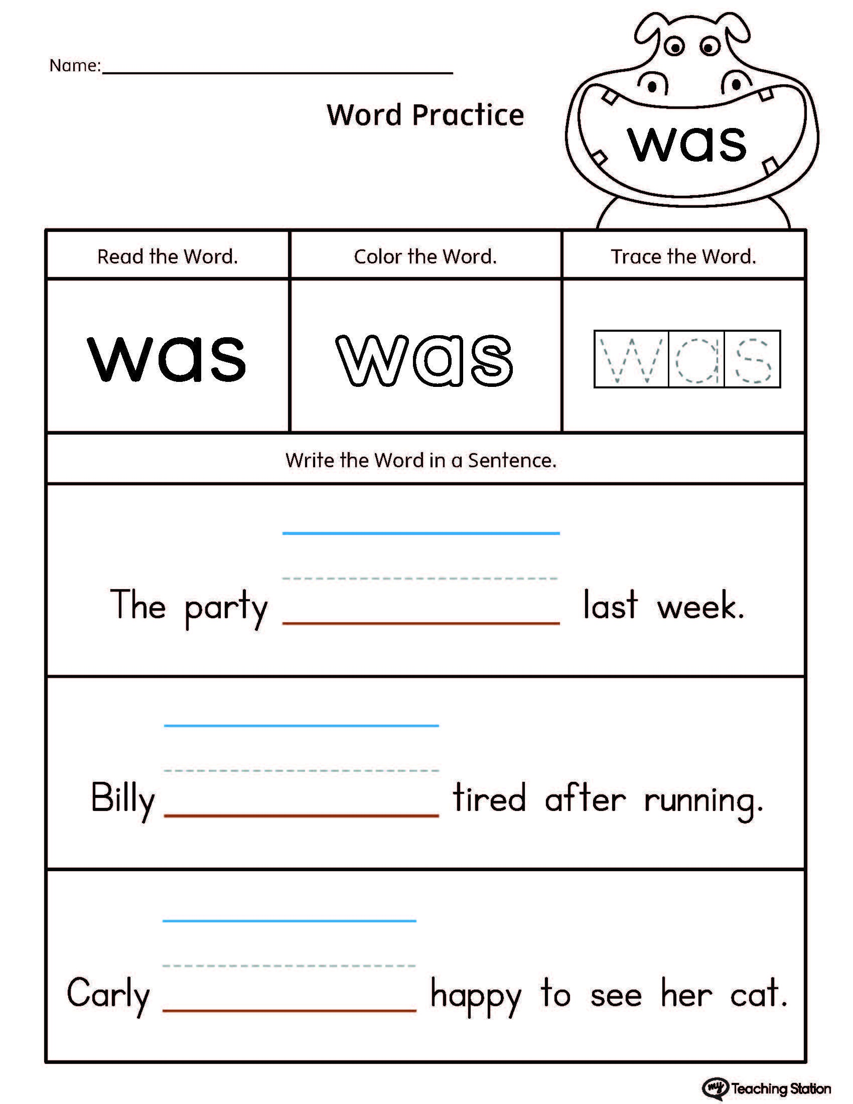 Build Sentences Using Sight Word: Was   School   Sight Words - Free Printable Sight Word Reading Passages