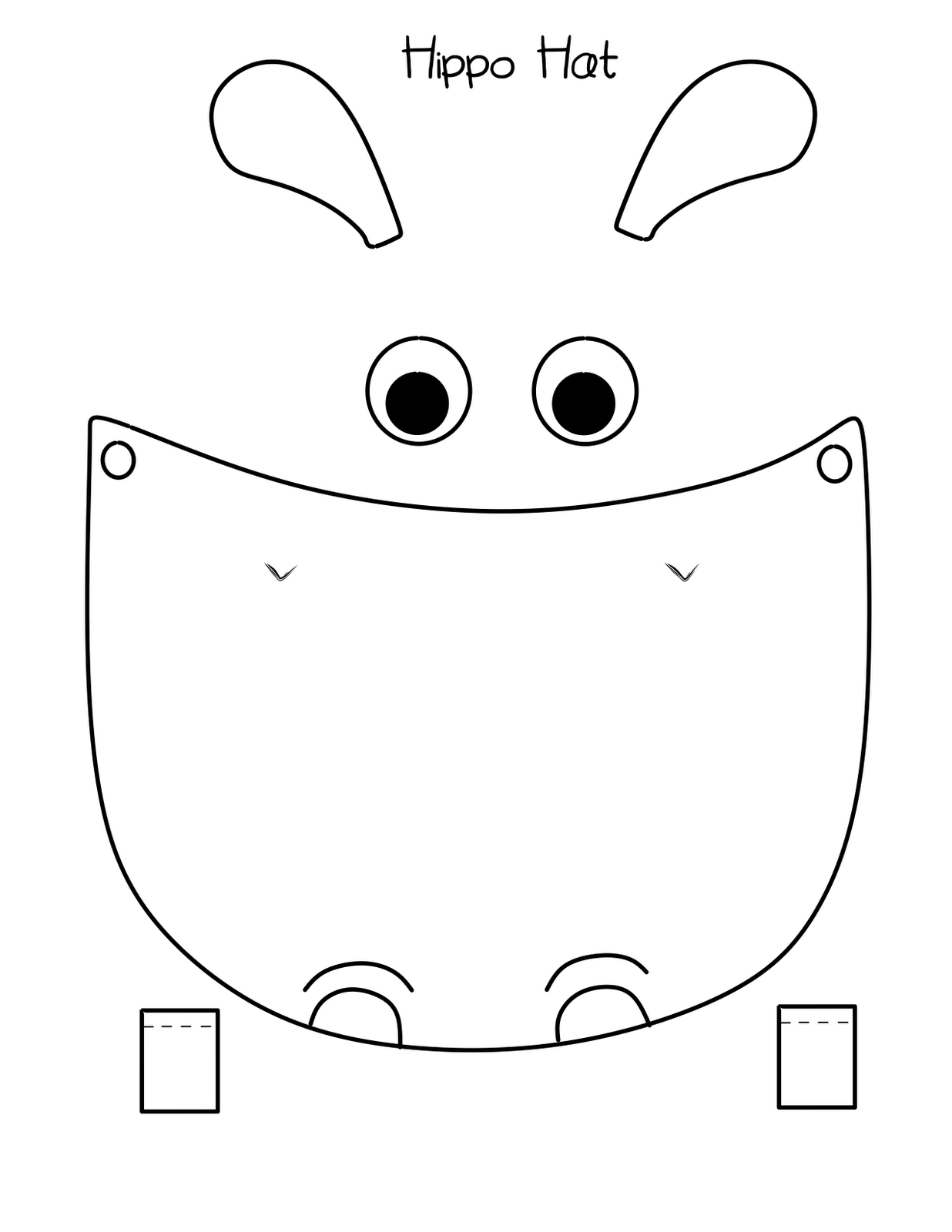 Bust Out Your Crayons: Hippo Hat Free Printable   Hippo Party Ideas - Free Printable Hippo Mask