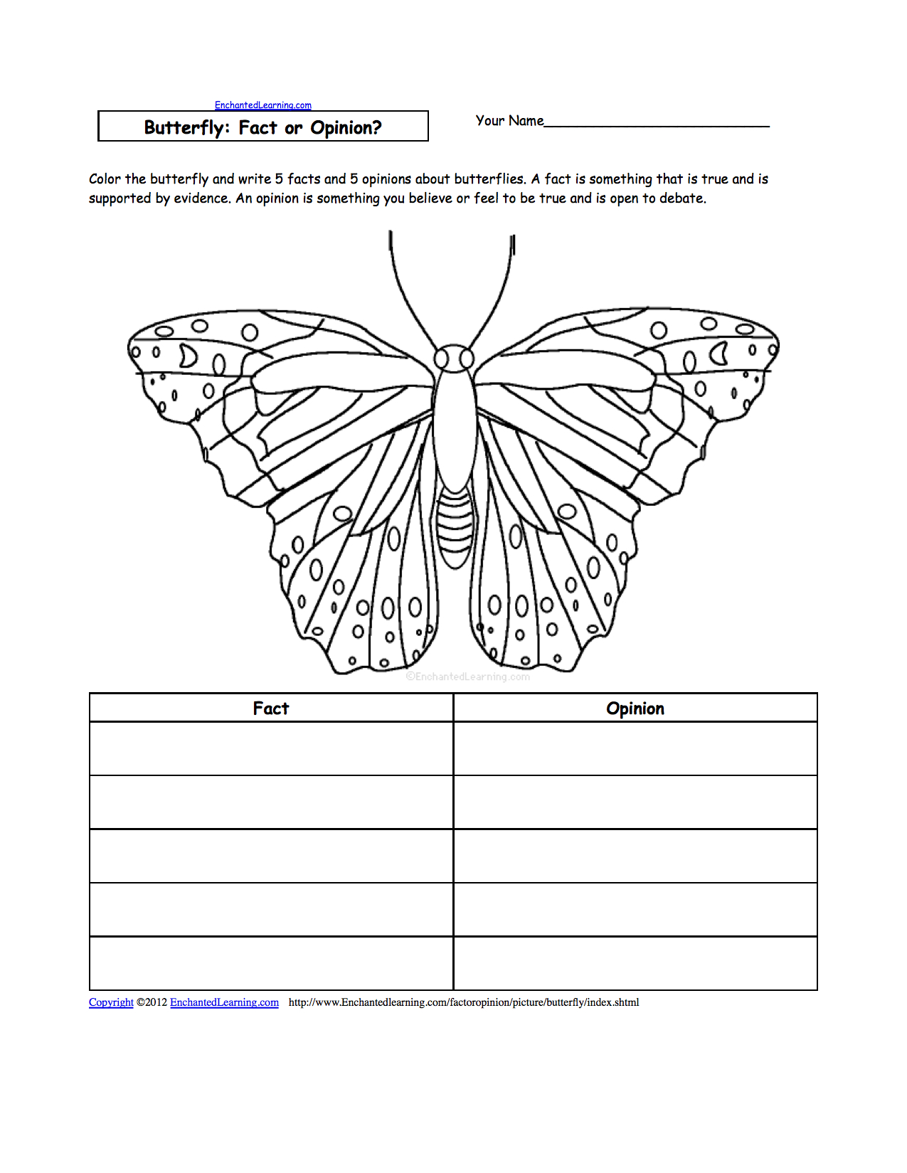 Butterfly Activities - Enchantedlearning - Free Printable Butterfly Worksheets