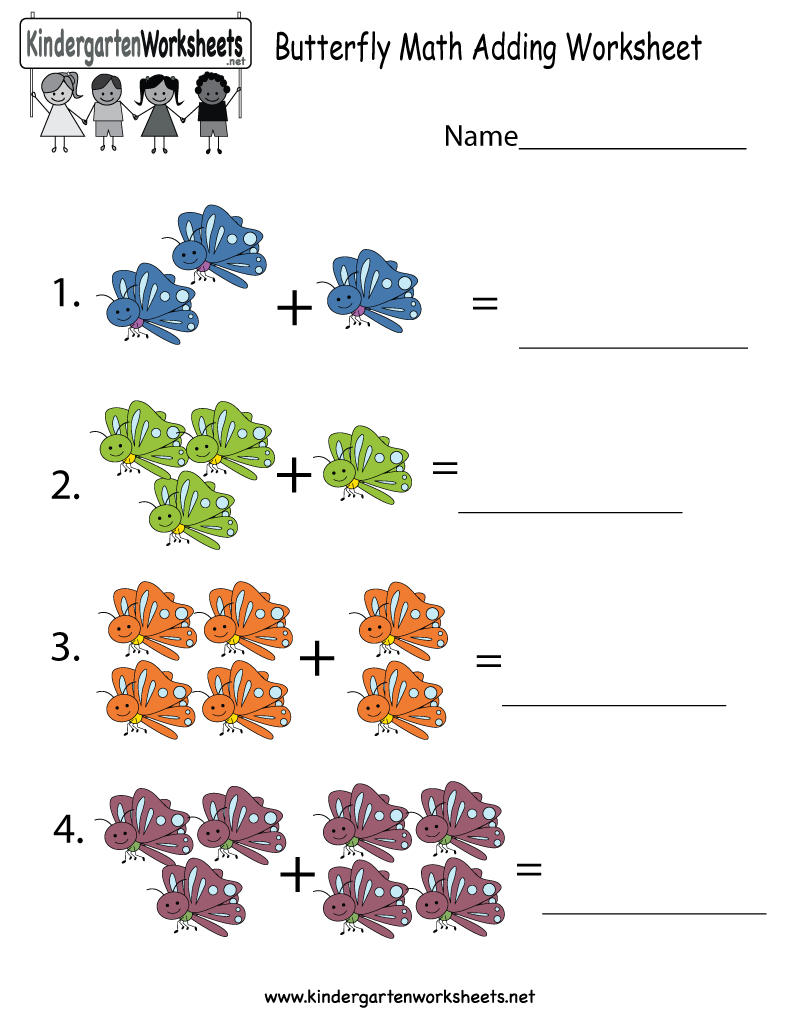 Butterfly Math Adding Worksheet - Free Kindergarten Learning - Free Printable Butterfly Worksheets