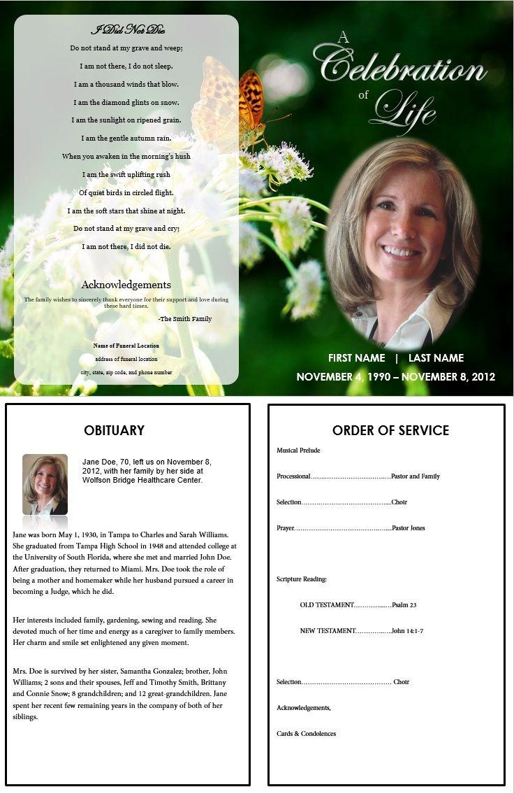 Butterfly Memorial Program | Memorials | Funeral Cards, Memorial - Free Printable Memorial Card Template