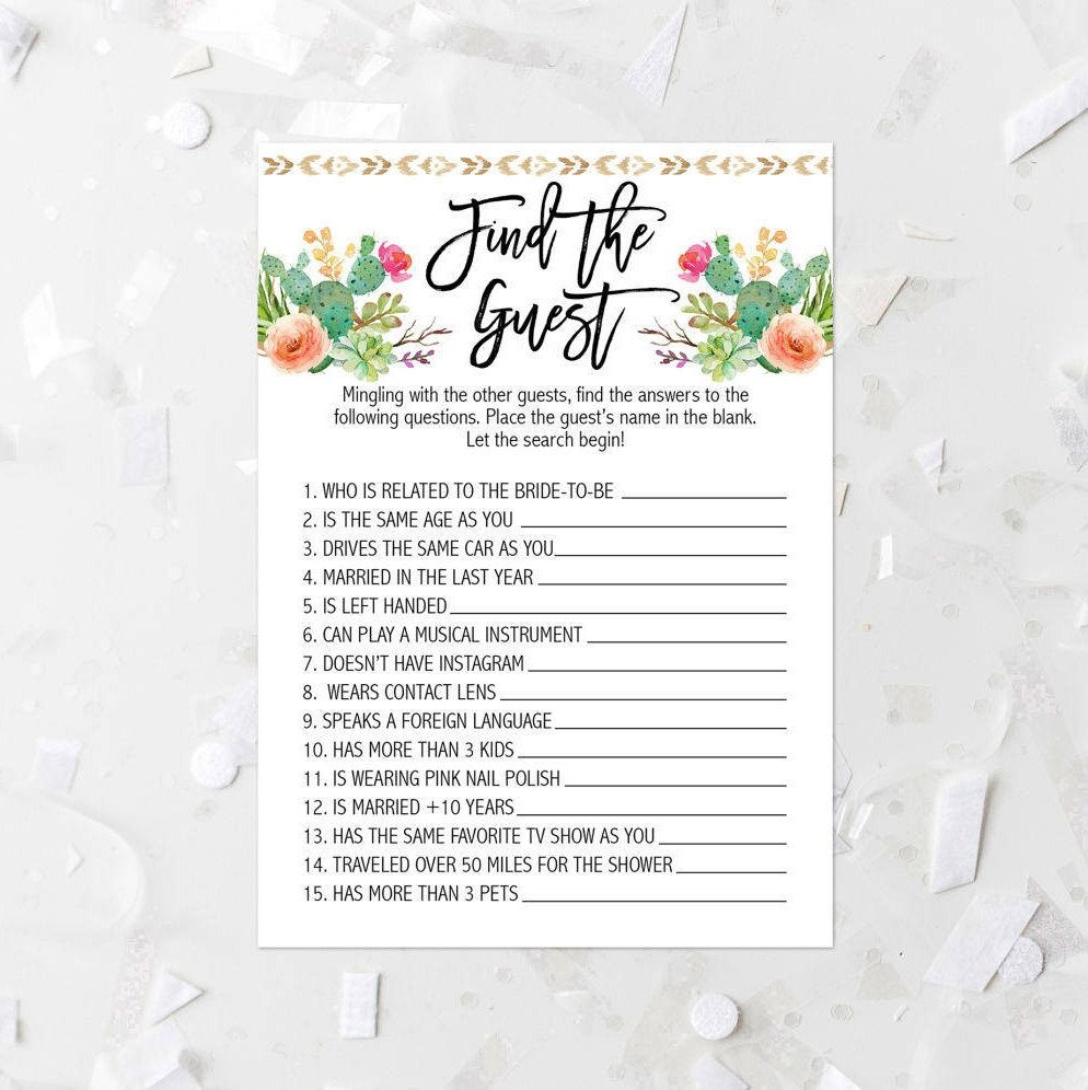 Cactus Find The Guest Game Printable Cactus Bridal Shower Game - Find The Guest Game Free Printable