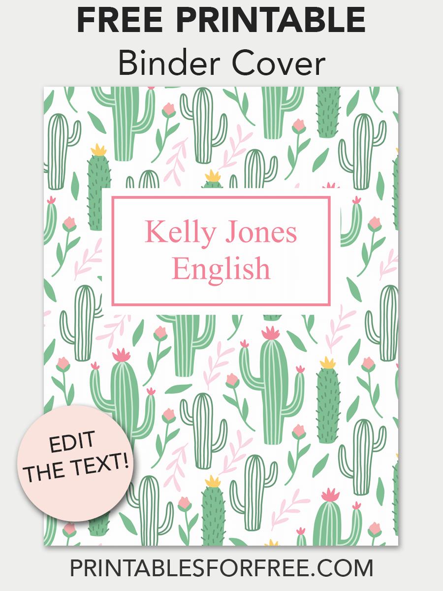 Cactus Printable Binder Cover | School | Printable Binder Covers - Free Editable Printable Binder Covers