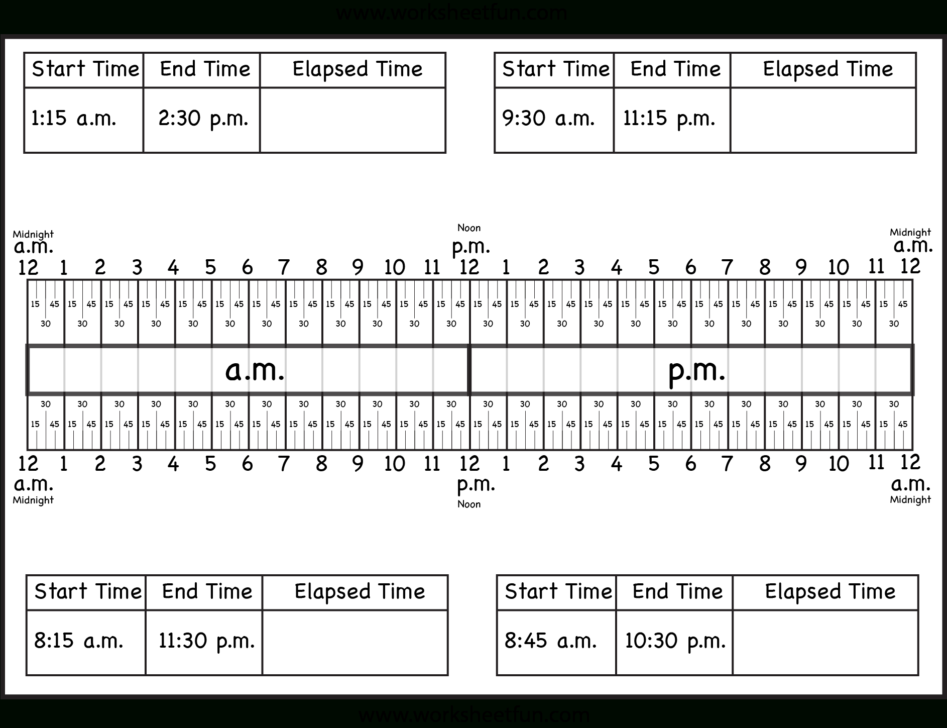 Calculate Elapsed Time – 5 Worksheets – 15, 30, 45, 60 Minutes - Free Printable Number Line To 30