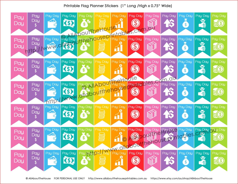 Calendar Stickers Printable Payday Flag Printable Planner Stickers - Free Printable Payday Stickers