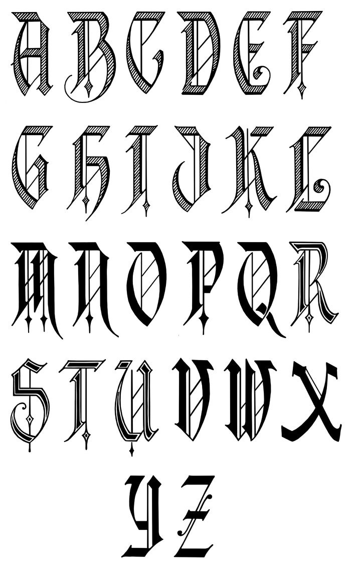 Calligraphy | Old English Calligraphy Alphabet | Tattoo Lettering - Free Printable Old English Letters