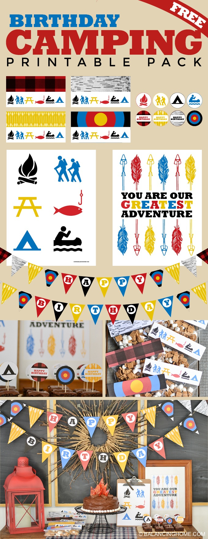Camping Birthday Party Printables - Balancing Home - Free Camping Party Printables