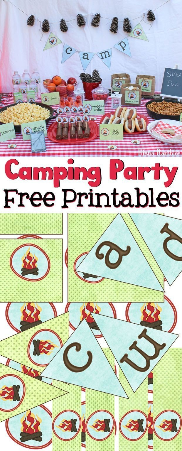 Camping Party Movie Night With Free Campfire Printables | Free - Free Camping Party Printables