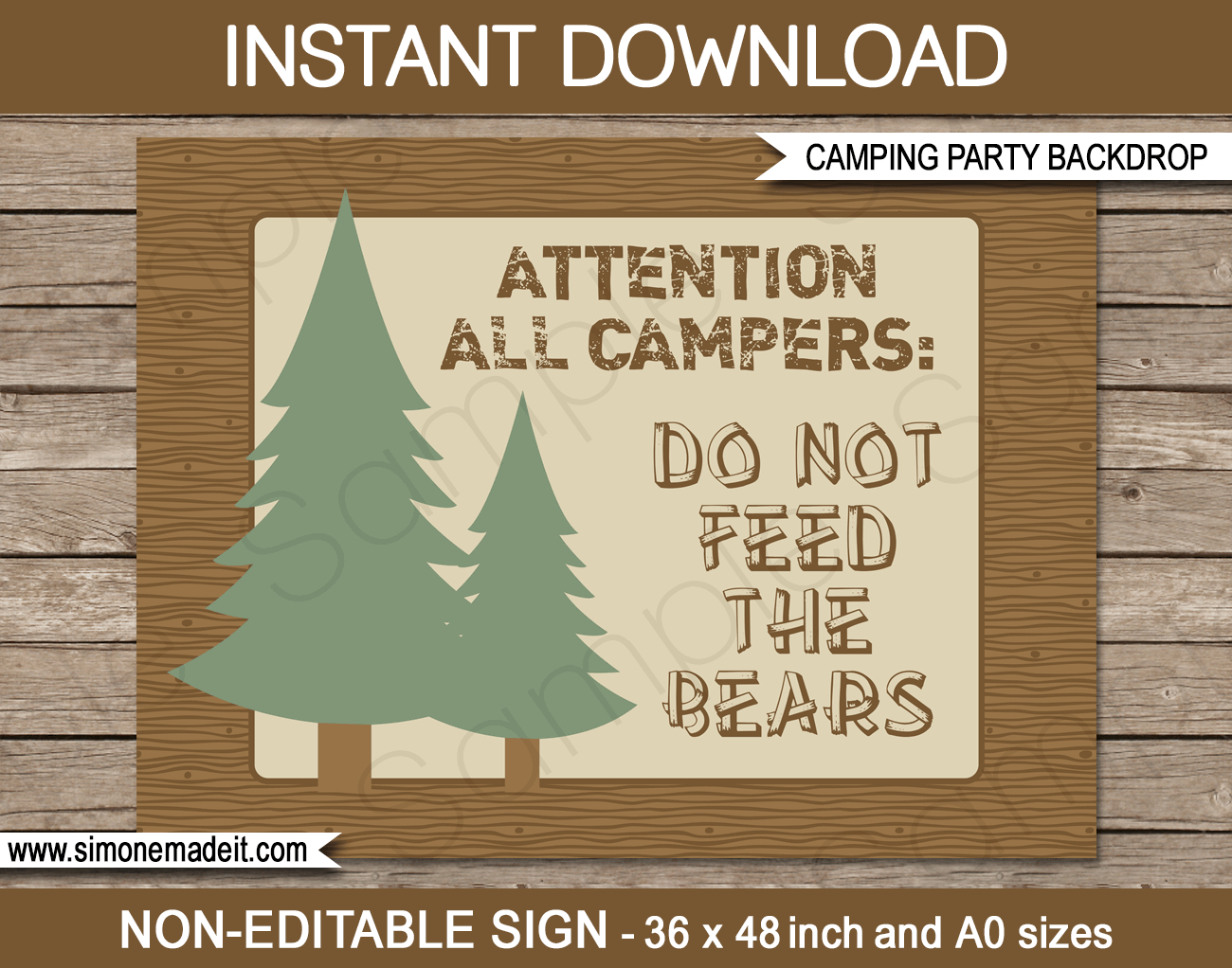 Camping Party Sign Backdrop   Camping Party Decorations - Free Printable Camping Signs