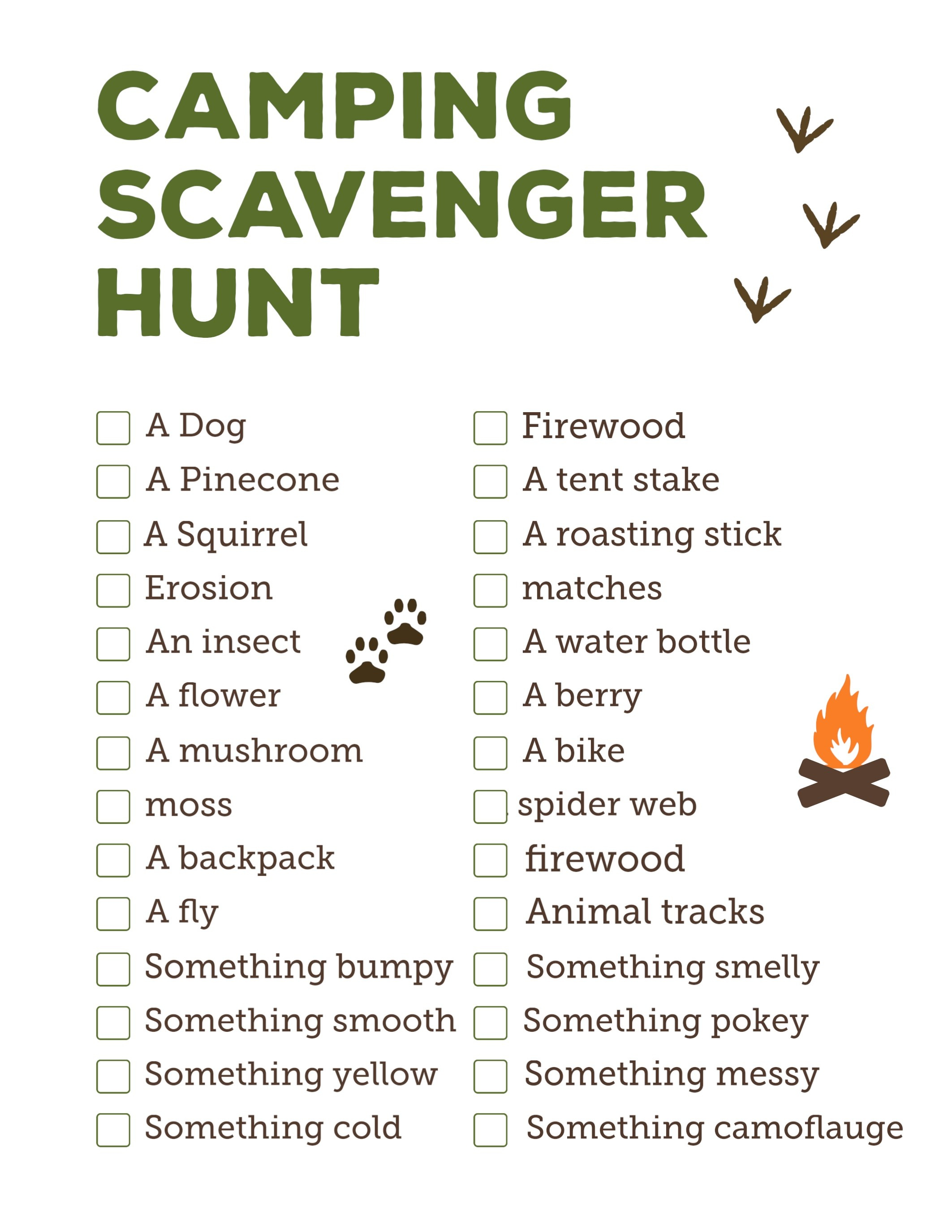Camping Scavenger Hunt Printable - Paper Trail Design - Free Printable Scavenger Hunt