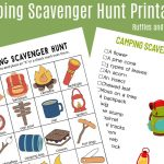 Camping Scavenger Hunt   Printables For Two Age Groups!   Free Camping Printables