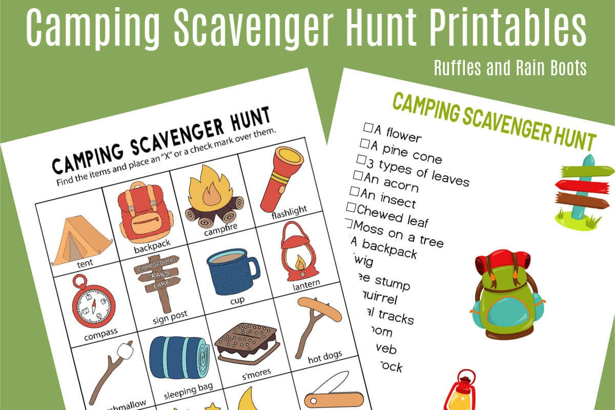 Camping Scavenger Hunt - Printables For Two Age Groups! - Free Camping Printables