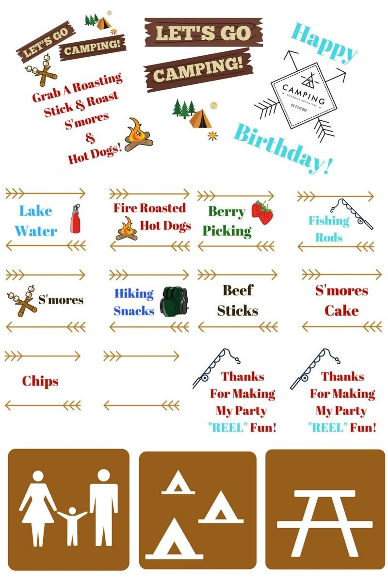 Camping Themed Birthday Party Ideas, Camping Party Food & Free - Free Camping Party Printables