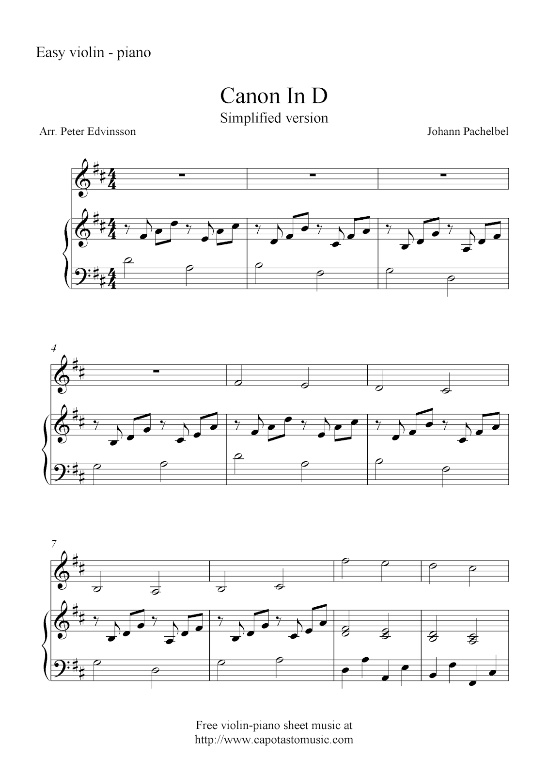 Canon In D (Simplified Version), Free Violin And Piano Sheet Music Notes - Canon In D Piano Sheet Music Free Printable