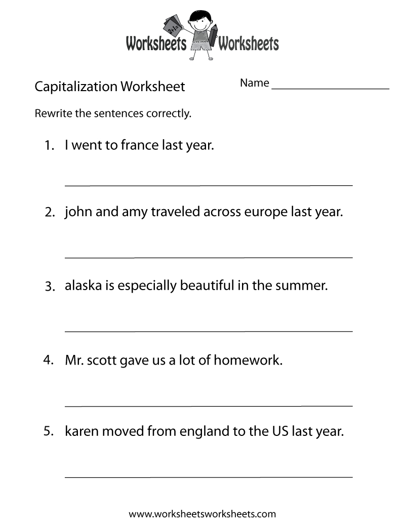 Capitalization Worksheets   Capitalization Practice Worksheet - Free - Free Printable Worksheets For Punctuation And Capitalization