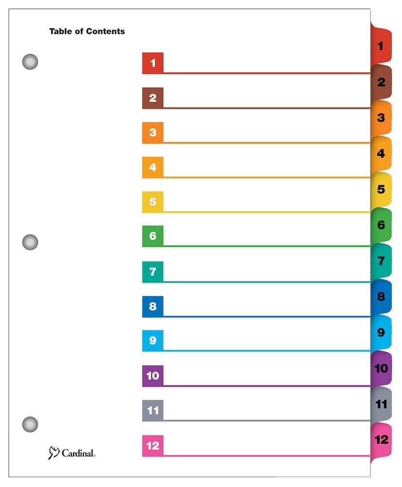 Cardinal Onestep Printable Table Of Contents Dividers, 12 Tab - Free Printable Table Of Contents Template