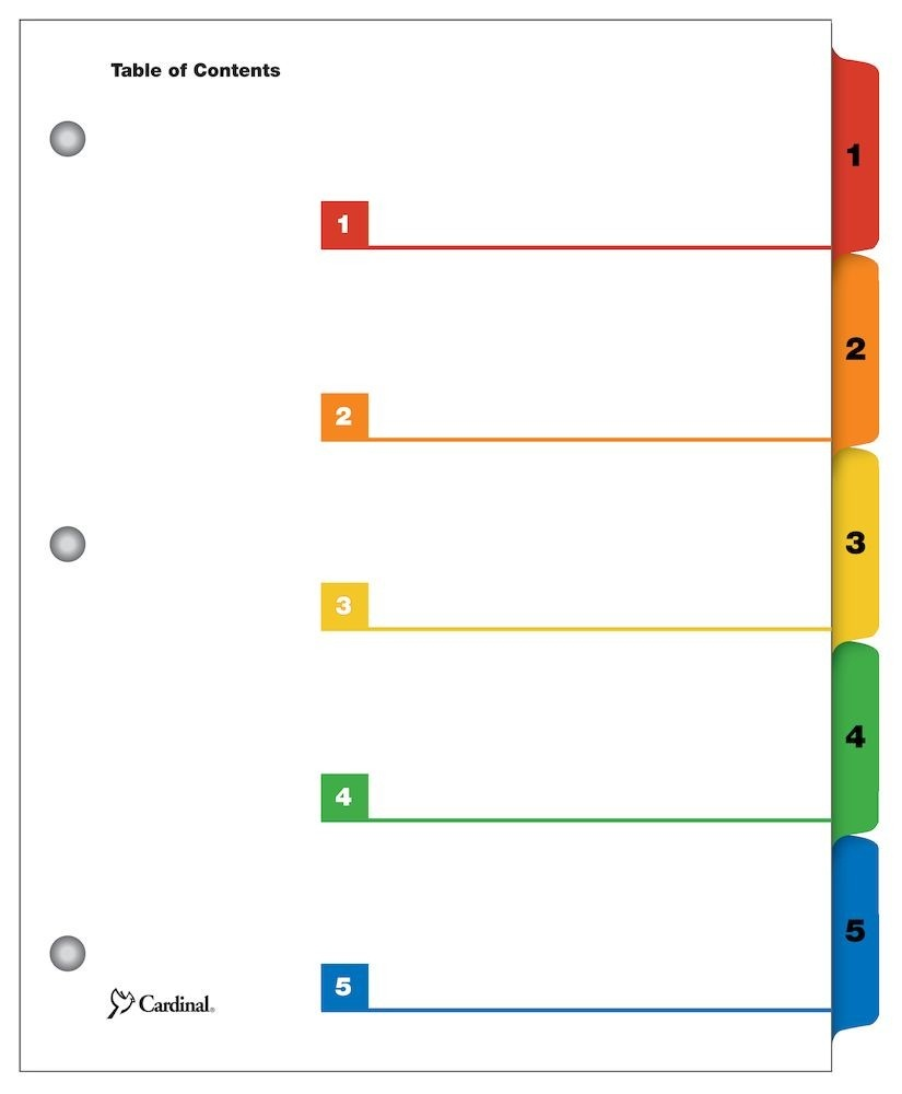 Cardinal Onestep Printable Table Of Contents Dividers, 5 Tab, Multicolor - Free Printable Table Of Contents Template