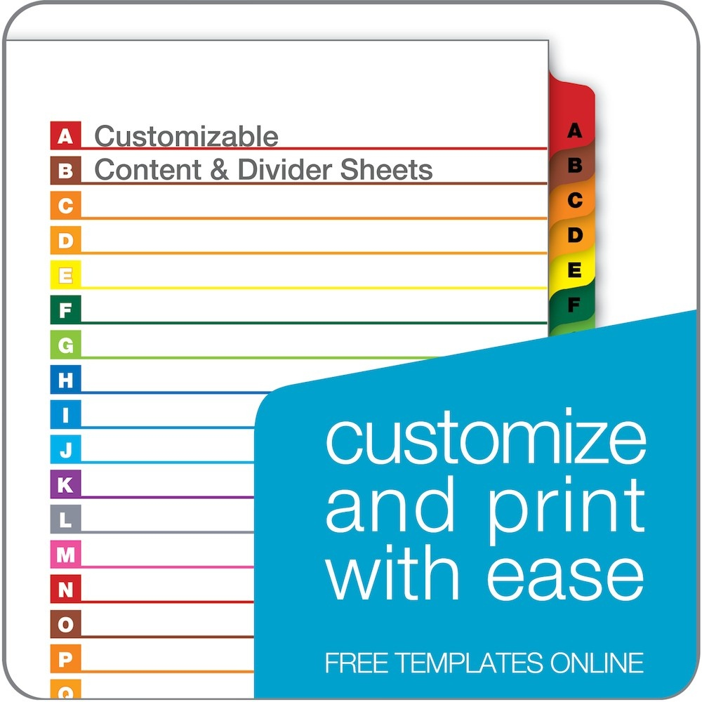 Cardinal Onestep Printable Table Of Contents Dividers, A-Z, Multicolor - Free Printable Table Of Contents Template