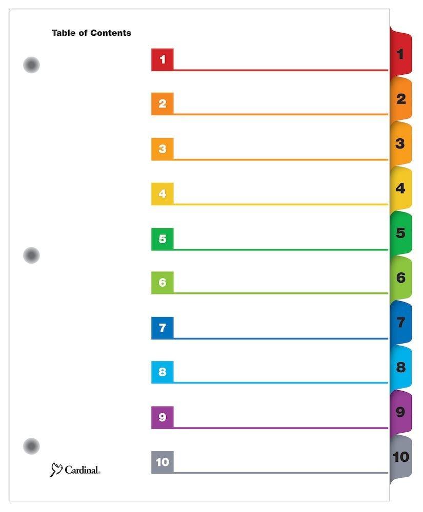 Cardinal Quickstep Onestep Printable Table Of Contents Dividers, 10 - Free Printable Table Of Contents Template