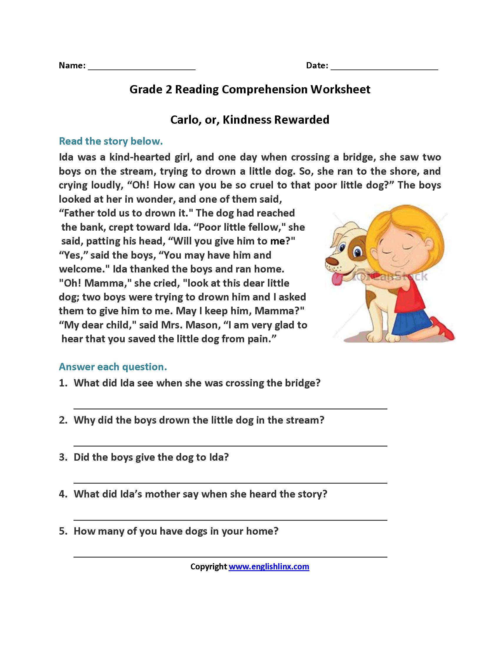Carlo Or Kindness Rewarded Second Grade Reading Worksheets   Reading - Free Printable Short Stories With Comprehension Questions