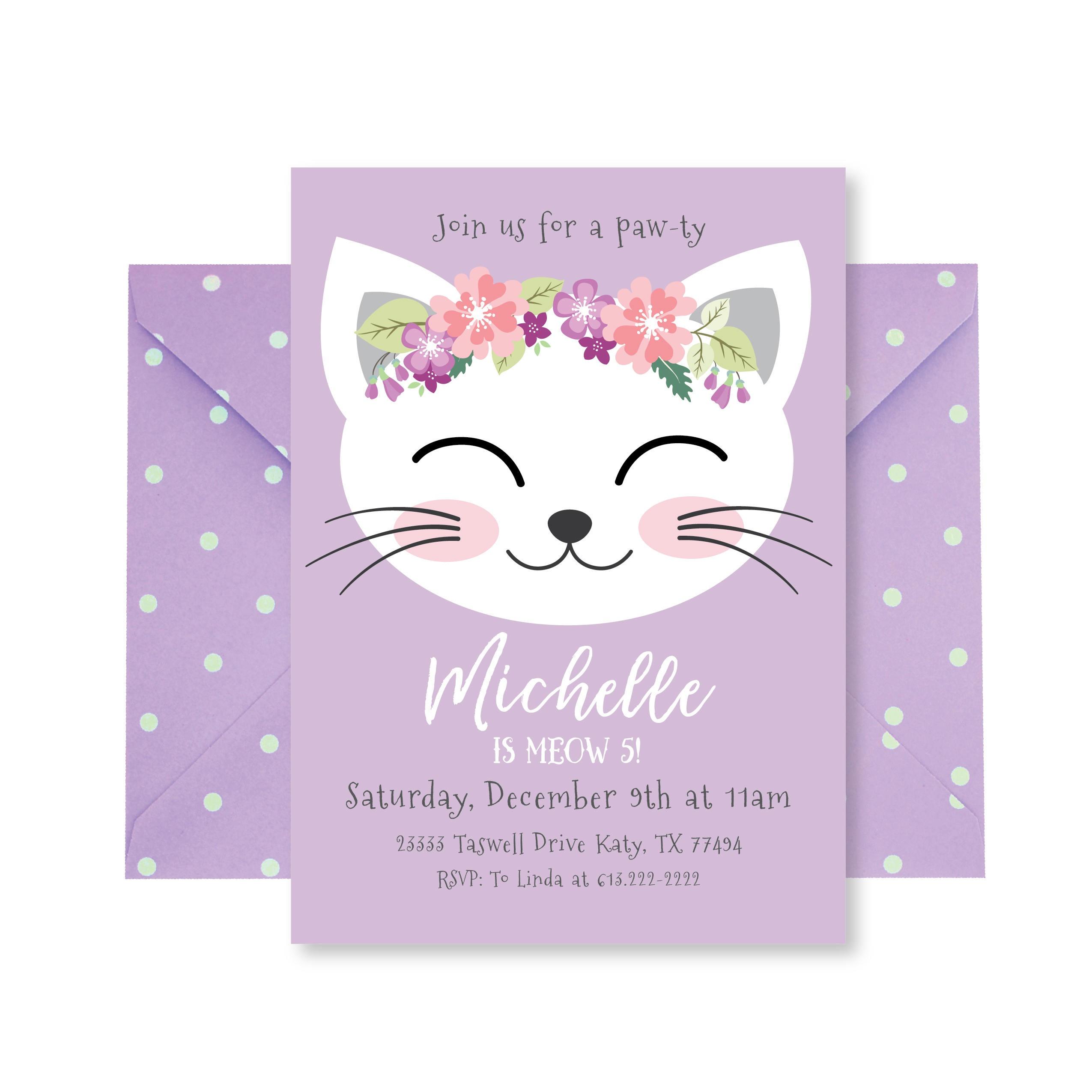 Cat Birthday Party Invitation, Kitten Invitation, Cat Birthday, Girl  Printable Invitation, Girl 3Rd Birthday, Kitty Party, 1St Birthday - Free Printable Kitten Birthday Invitations