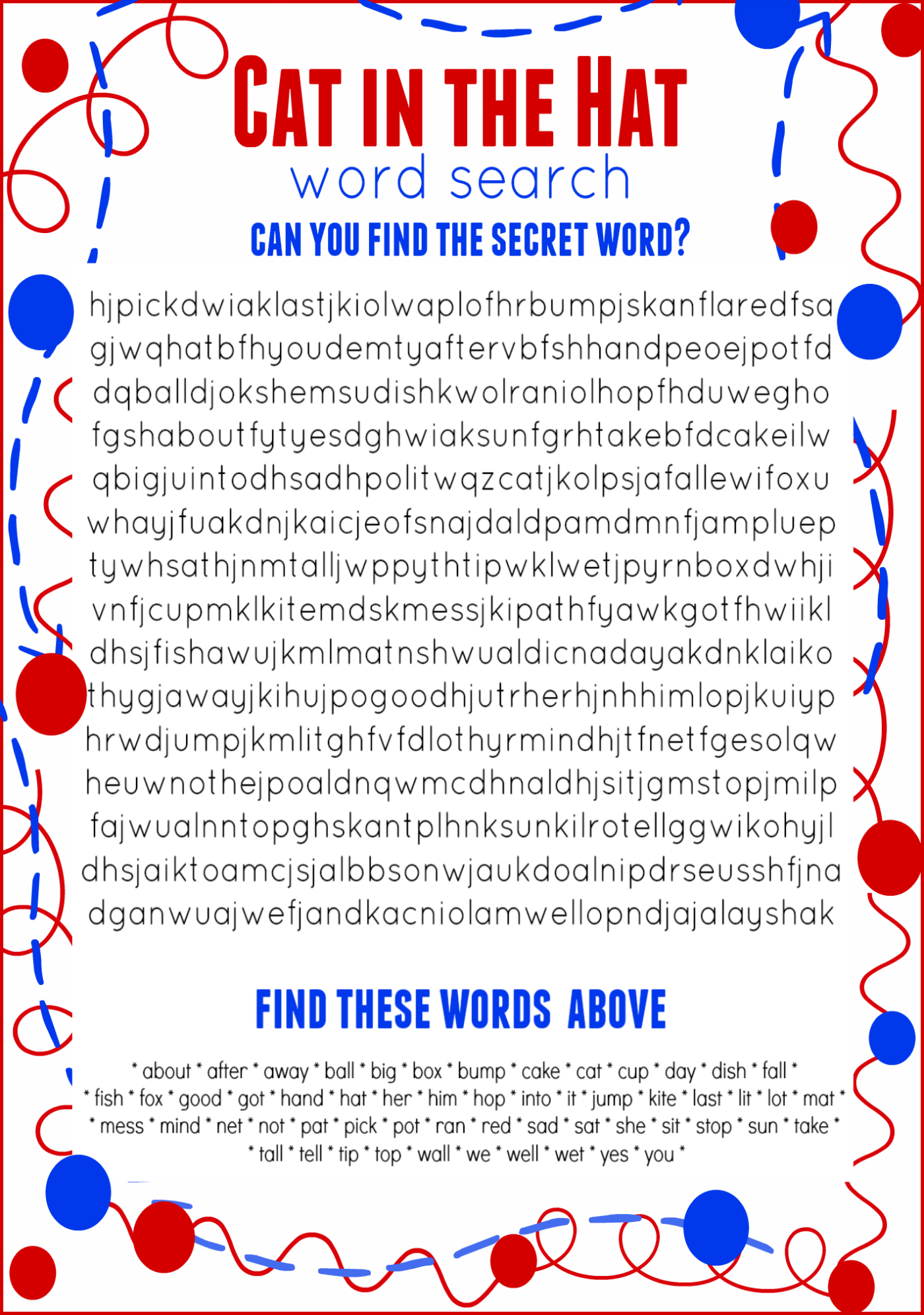Cat In The Hat Word Search Free Printable Dr. Seuss Birthday - Cat In The Hat Free Printable Worksheets