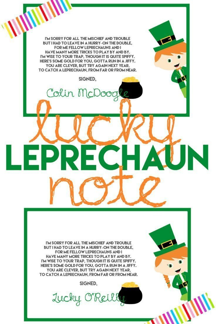 Catch A Leprechaun This St. Patrick's Day With A Leprechaun Trap - Free Printable Leprechaun Notes