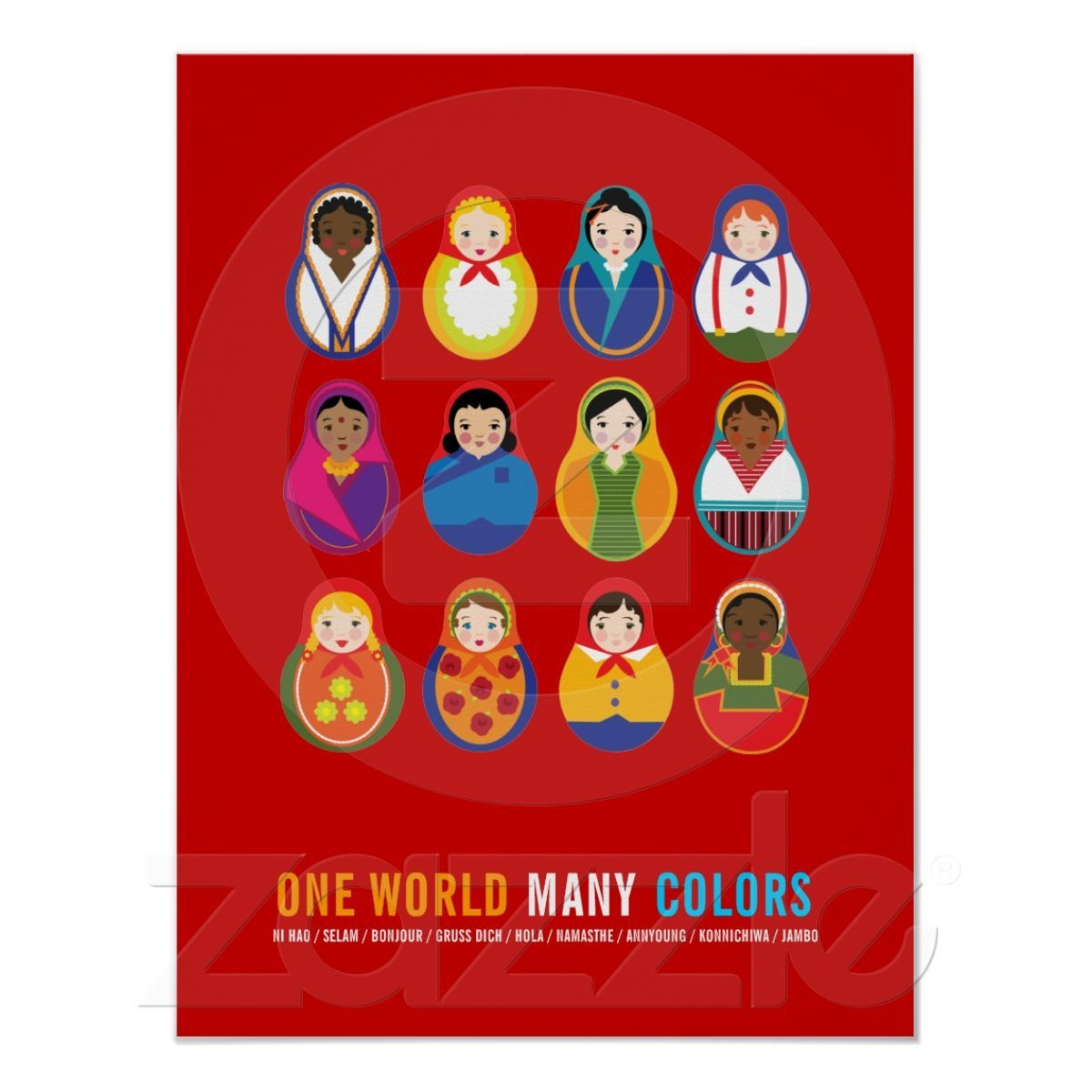 Celebrate Culture & Diversity One World Many Color Poster | Zazzle - Free Printable Multicultural Posters