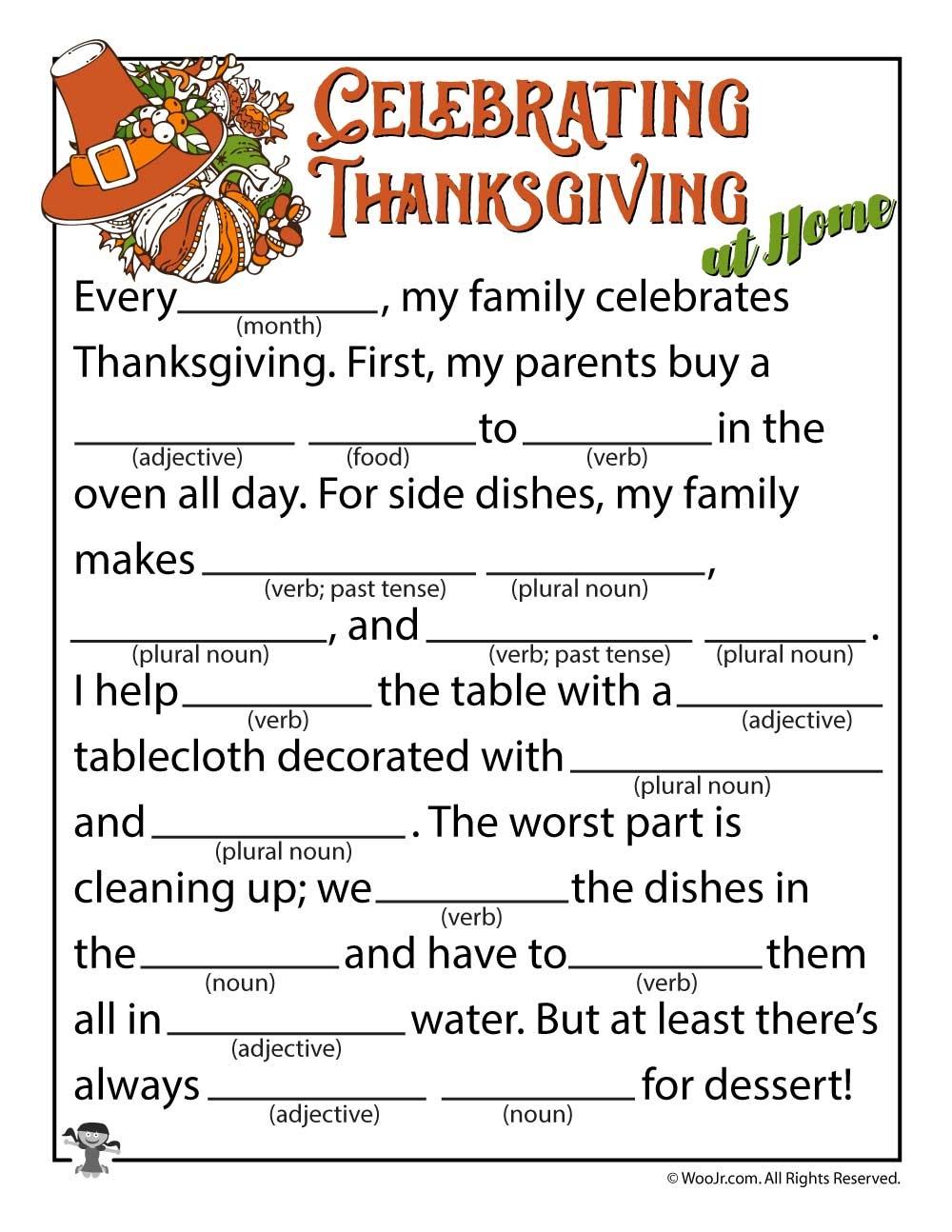 Celebrating Thanksgiving Mad Lib | Woo! Jr. Kids Activities - Free Printable Thanksgiving Mad Libs