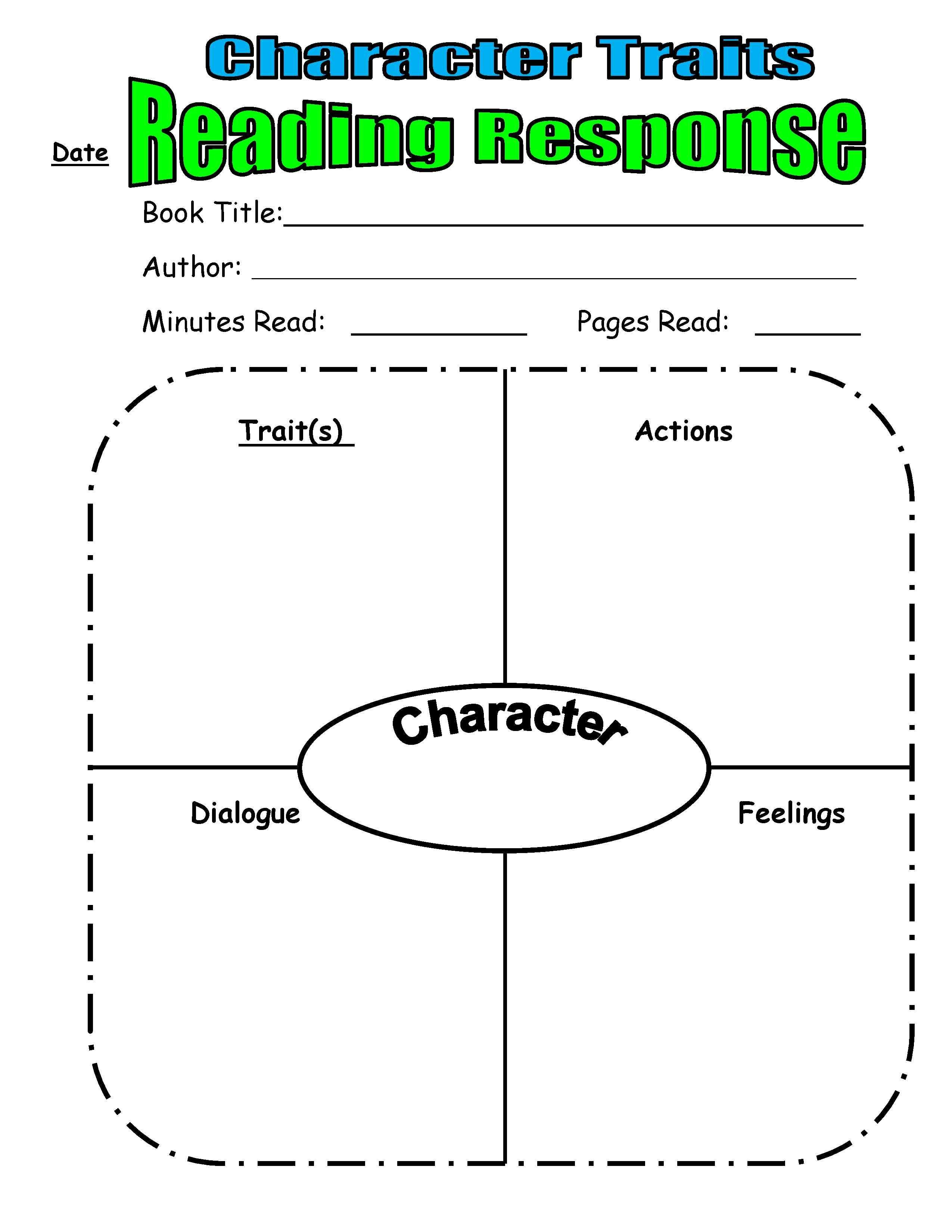 Character Trait Reading Response From Scholastic Top Teaching | For - Free Printable Character Map