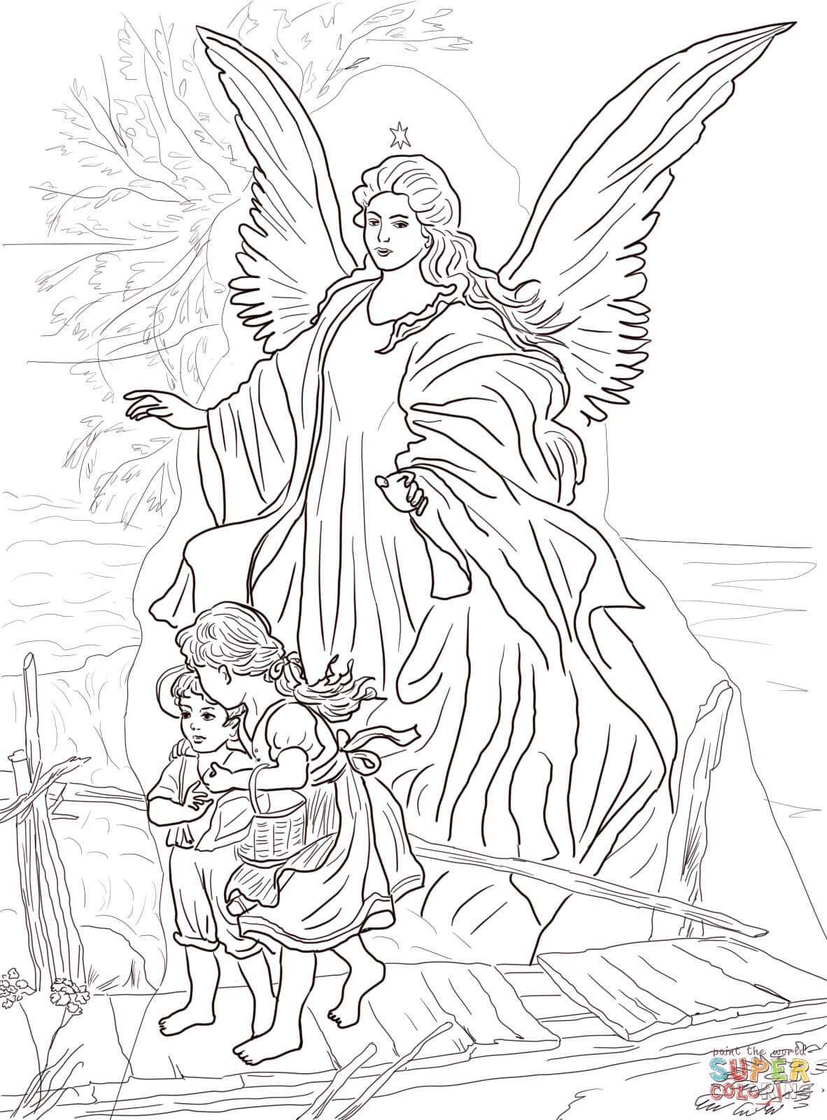 Children Are Protectedguardian Angel Coloring Page | Free - Free Printable Pictures Of Angels