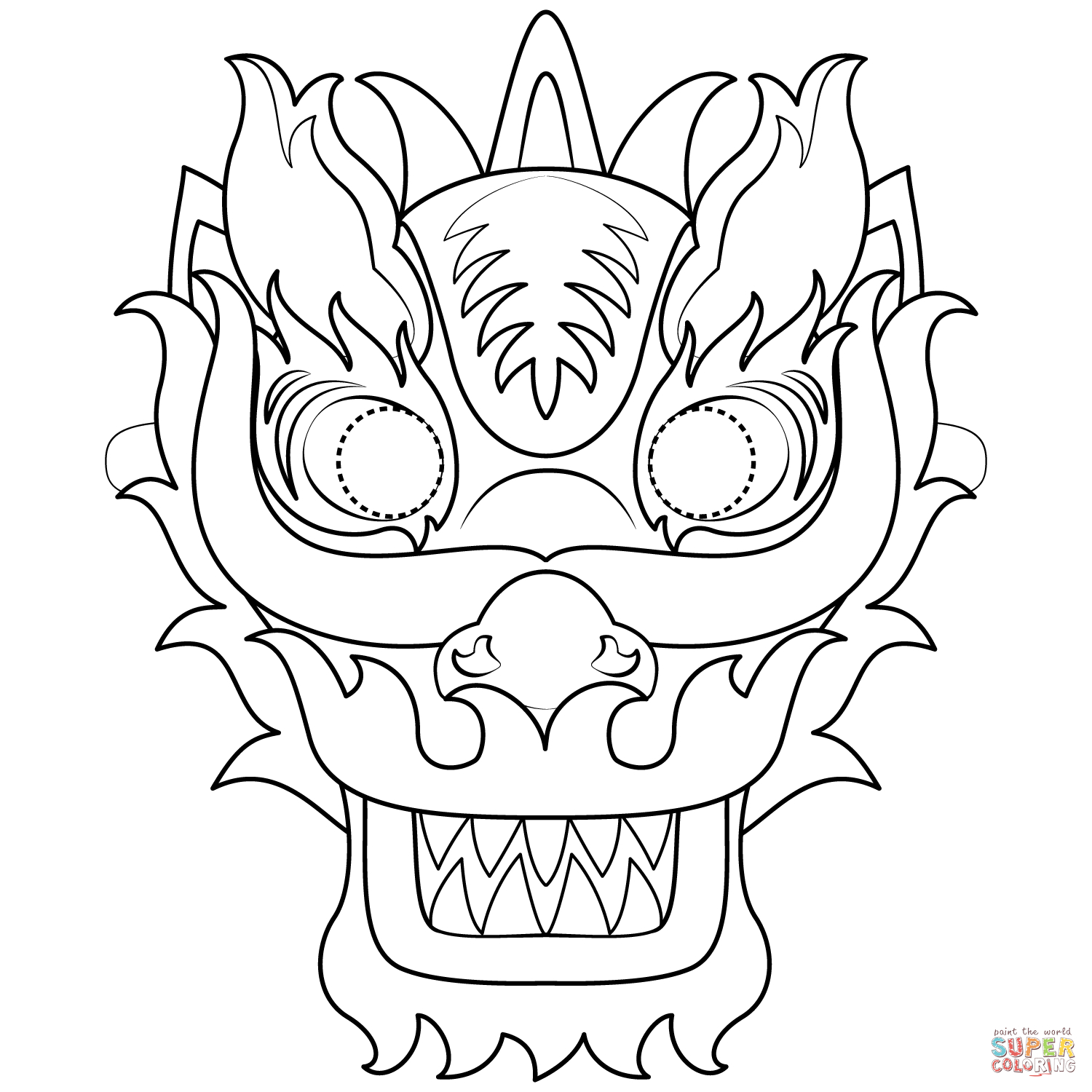 Chinese New Year Dragon Mask Coloring Page   Free Printable Coloring - Dragon Mask Printable Free