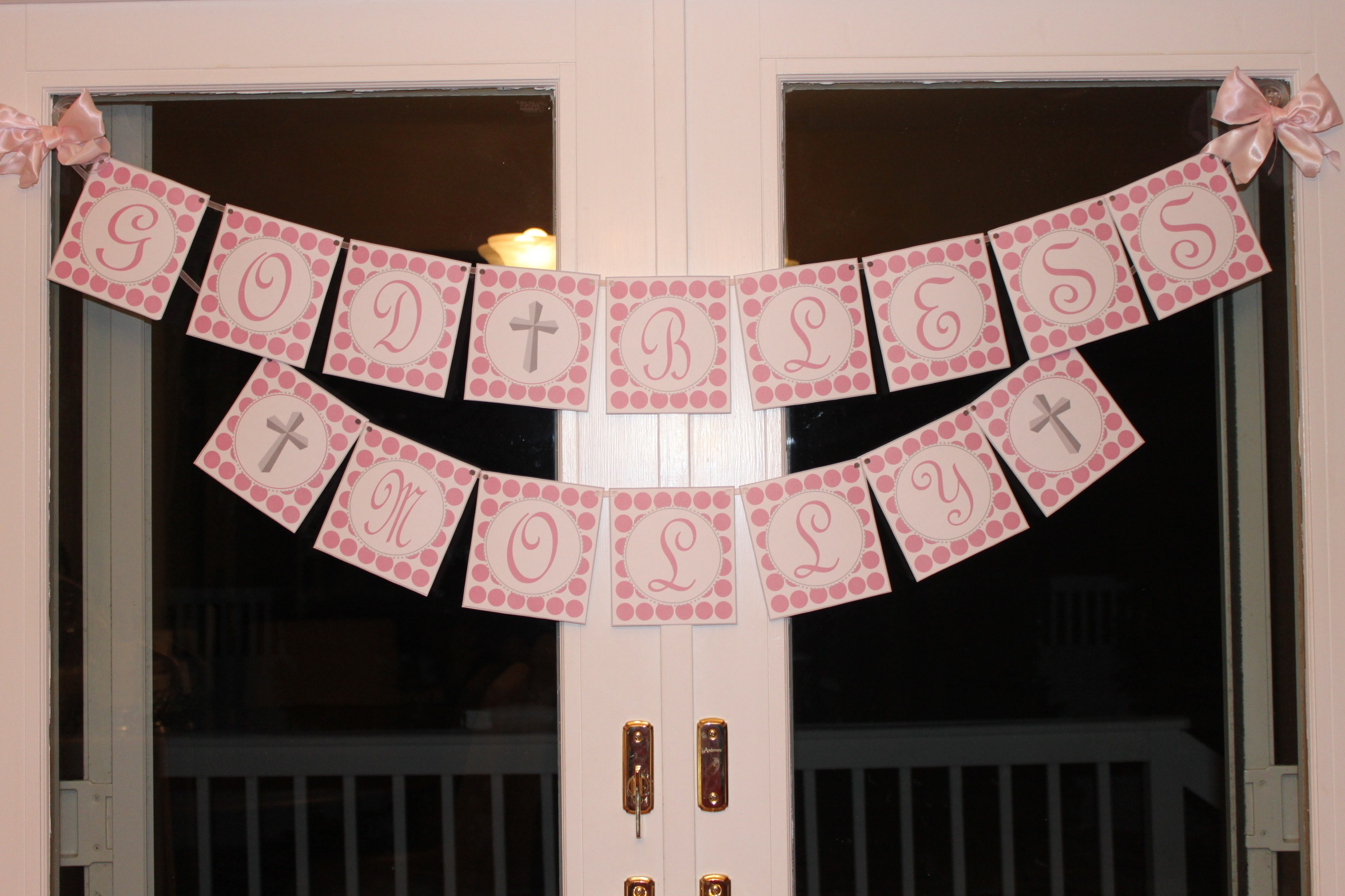 Christening Party   Partying With The Princesses - Free Printable God Bless Banner