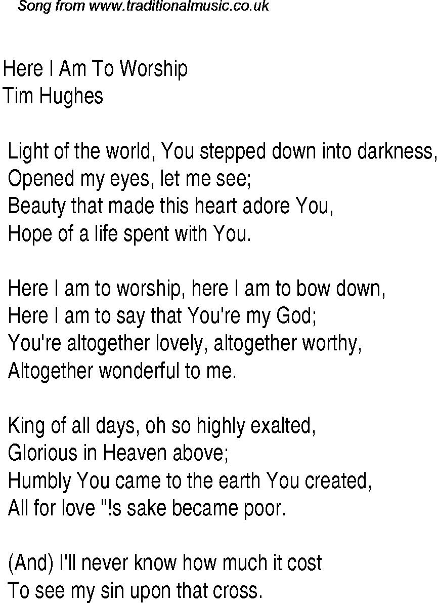 Christian Worship Song Lyrics | Christian Worship Song Lyrics: Here - Gospel Song Lyrics Free Printable