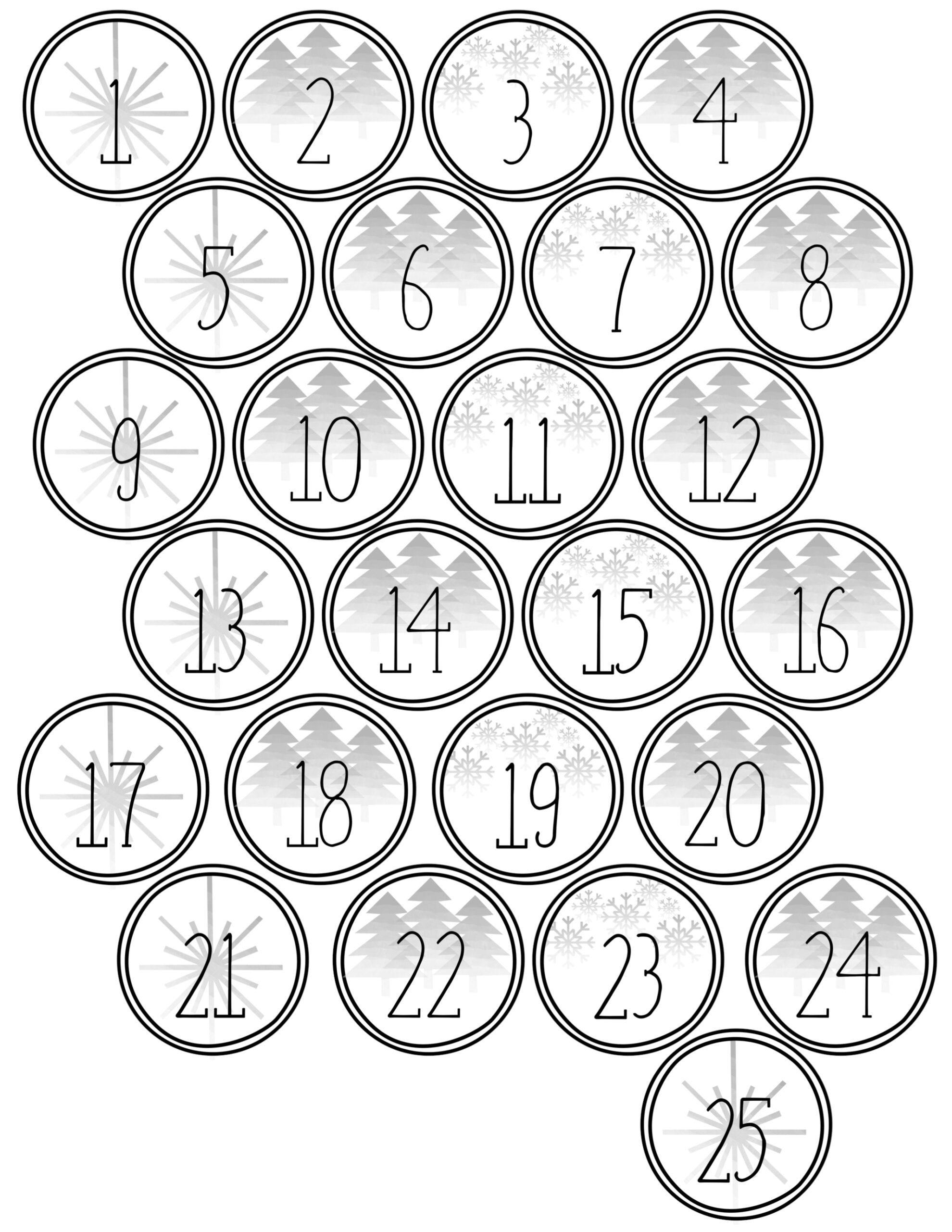 Christmas Advent Calendar Printable Numbers - Paper Trail Design - Free Printable Advent Numbers