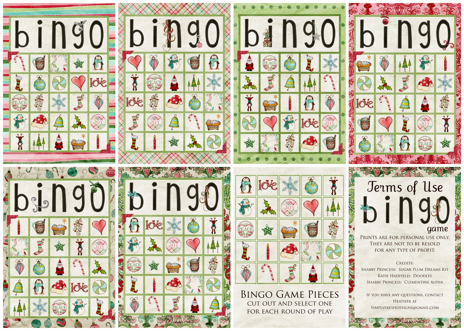 Christmas Bingo Game - Simply Fresh Designs - Free Printable Christmas Bingo