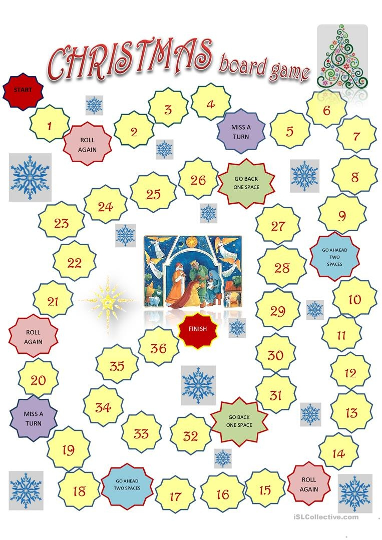 Christmas Board Game Template Worksheet - Free Esl Printable - Free Online Printable Christmas Games For Adults
