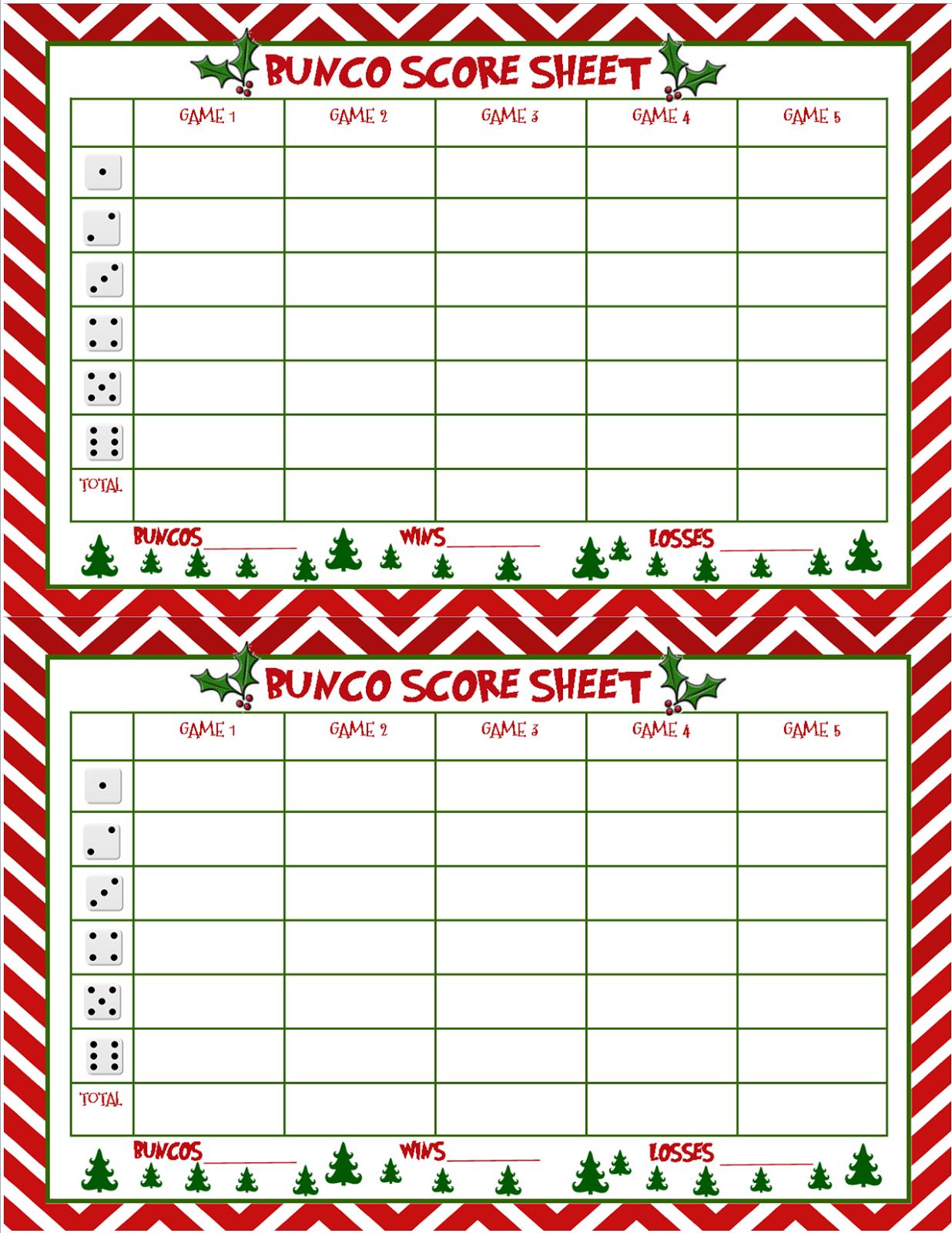 Christmas Bunco Score Sheets Free   Bunco   Bunco Score Sheets - Free Printable Bunco Game Sheets