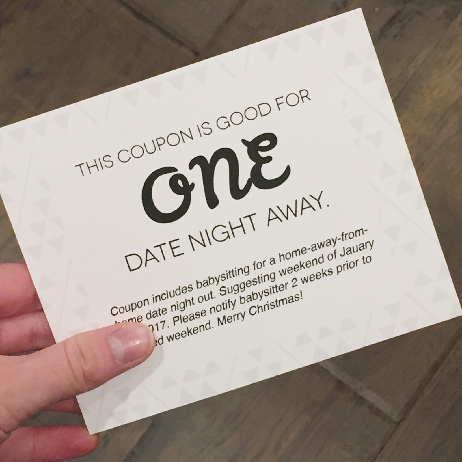 Christmas Coupon Gift - Free Printable! - Designstiffanyco - Free Printable Date Night Coupon