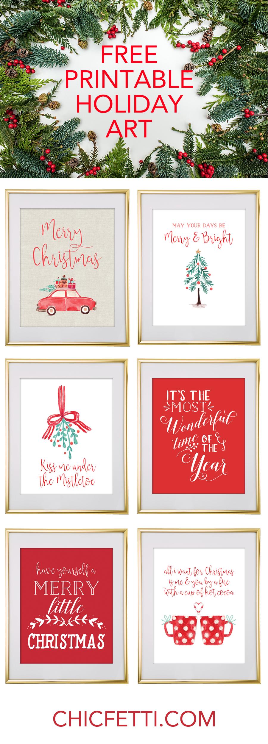 Christmas Free Printable Wall Art - Download Free Christmas Art - Free Holiday Printables